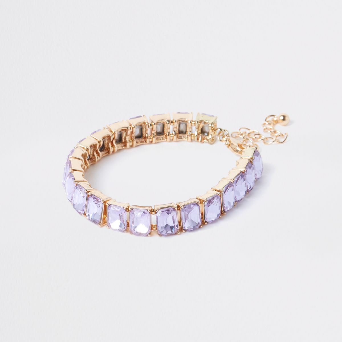 Gold Tone Lilac Square Jewel Bracelet by River Island