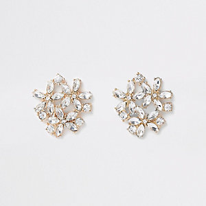 Boucles d'oreilles à clips dorées à pierres superposées