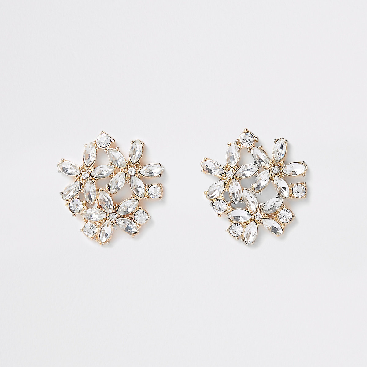 Gold tone jewel cluster clip on earrings