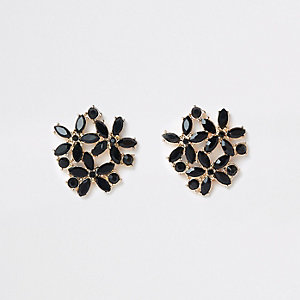 Black gold tone jewel cluster clip on earring