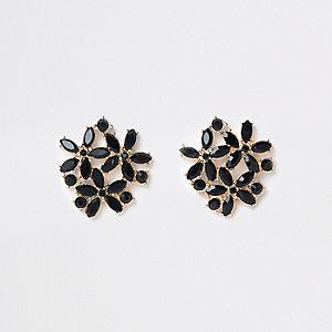Boucles d'oreilles à clips noires dorées à pierres superposées