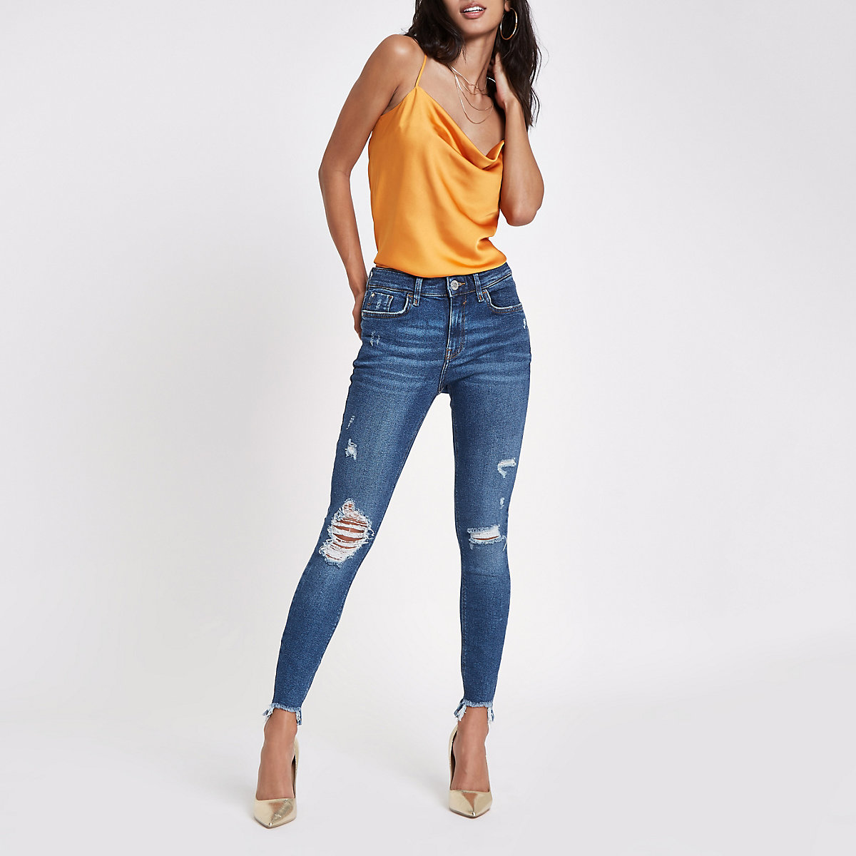Mid blue Amelie ripped RI skinny jeans