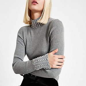Grey pearl embellished turtle neck sweater