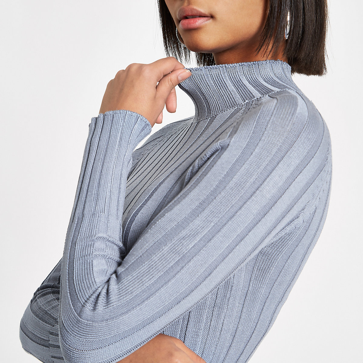 Blue knit ribbed high neck top