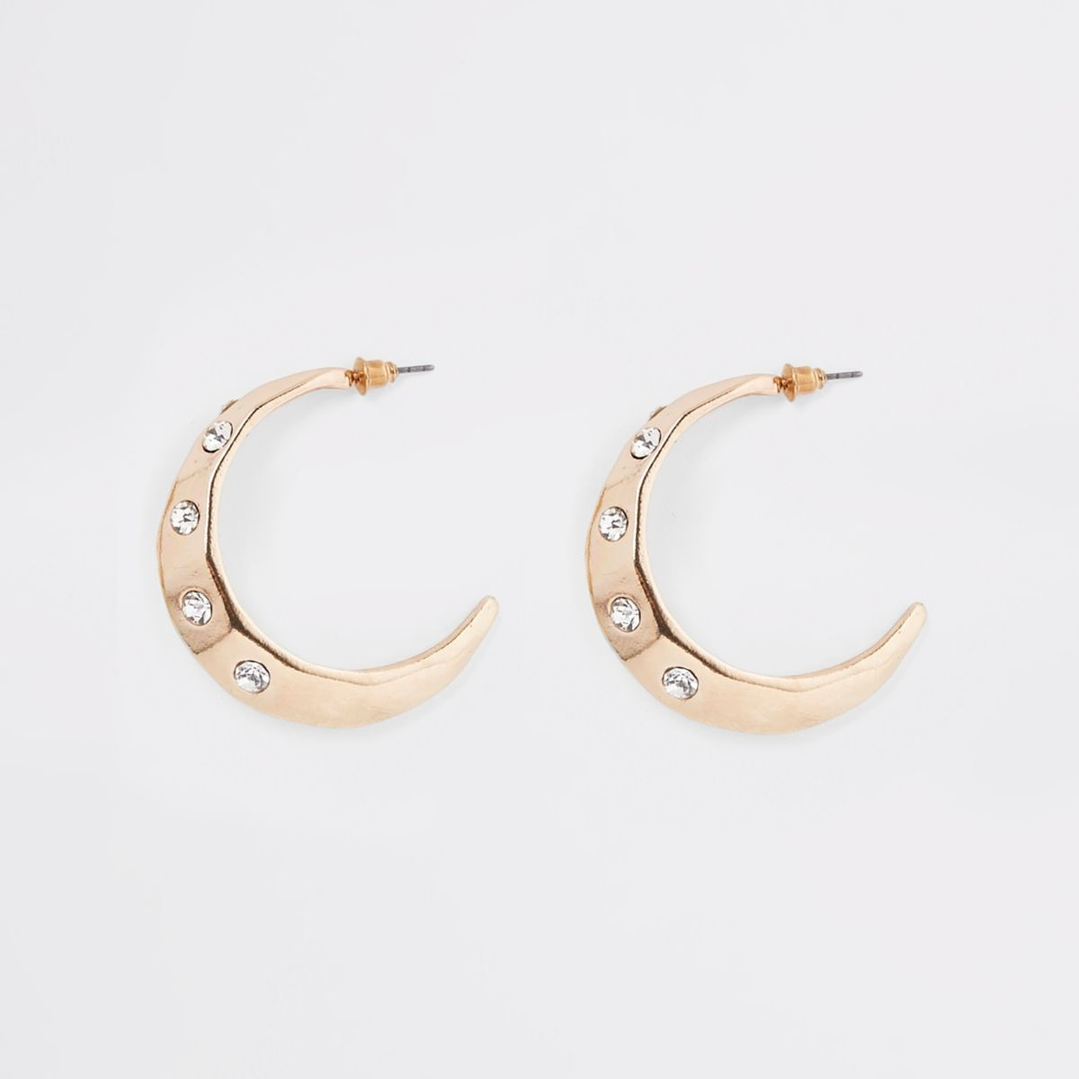 Gold tone chunky rhinestone hoop earrings