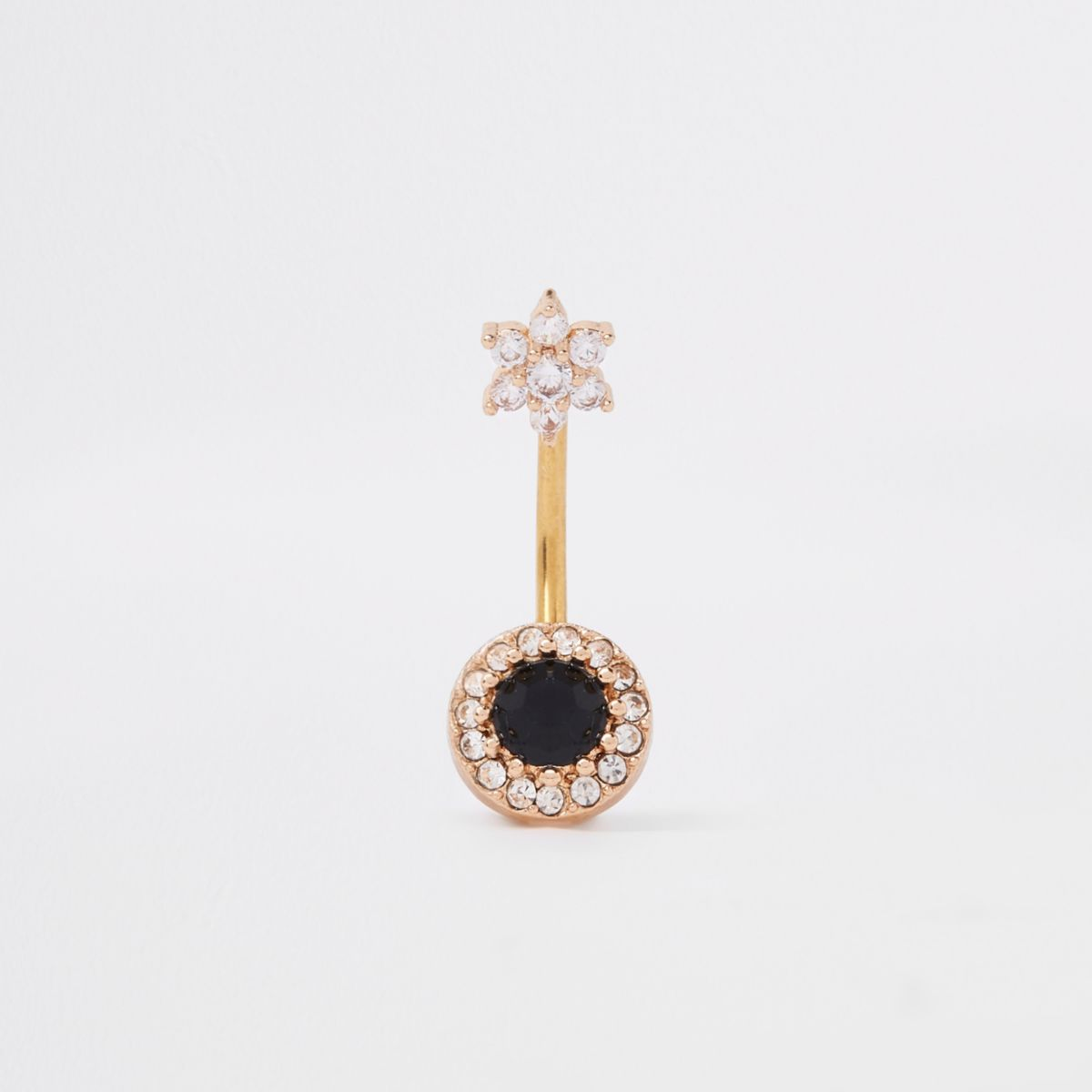 Black gold tone cubic zirconia belly bar