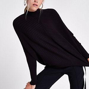 Black rib knit high neck long sleeve sweater