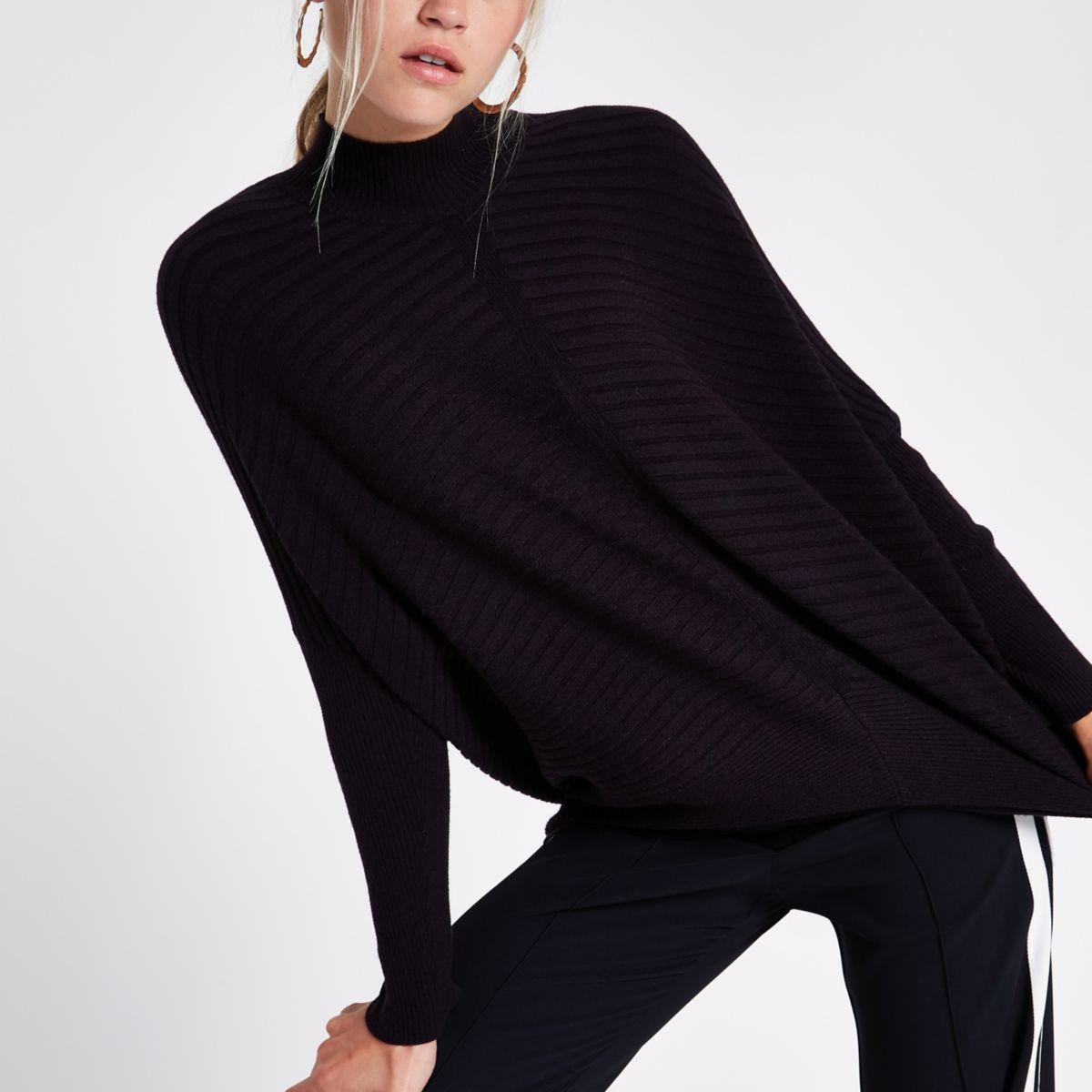 Black rib knit high neck long sleeve sweater