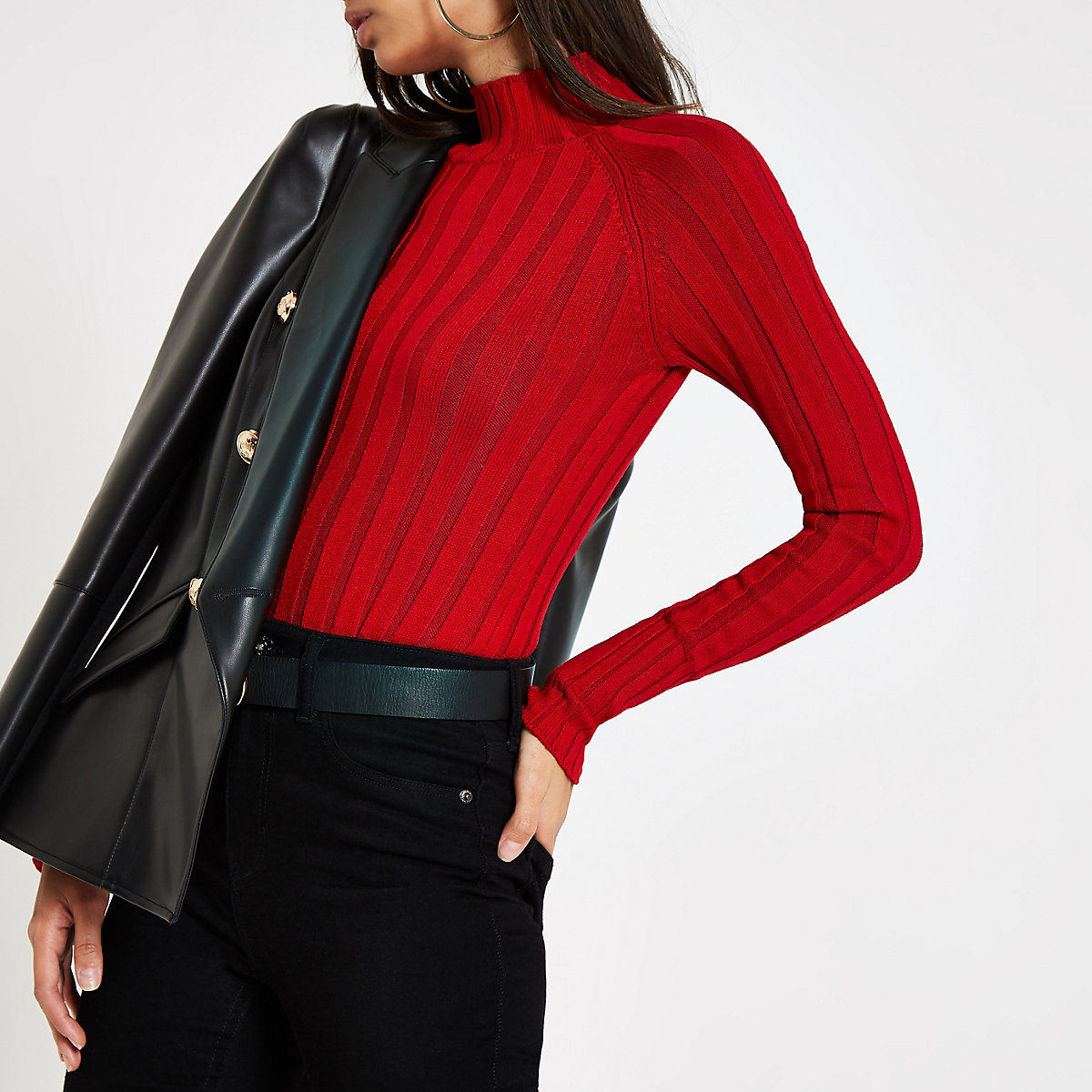 Dark red knit ribbed high neck top
