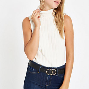 Cream knit ribbed roll neck sleeveless top