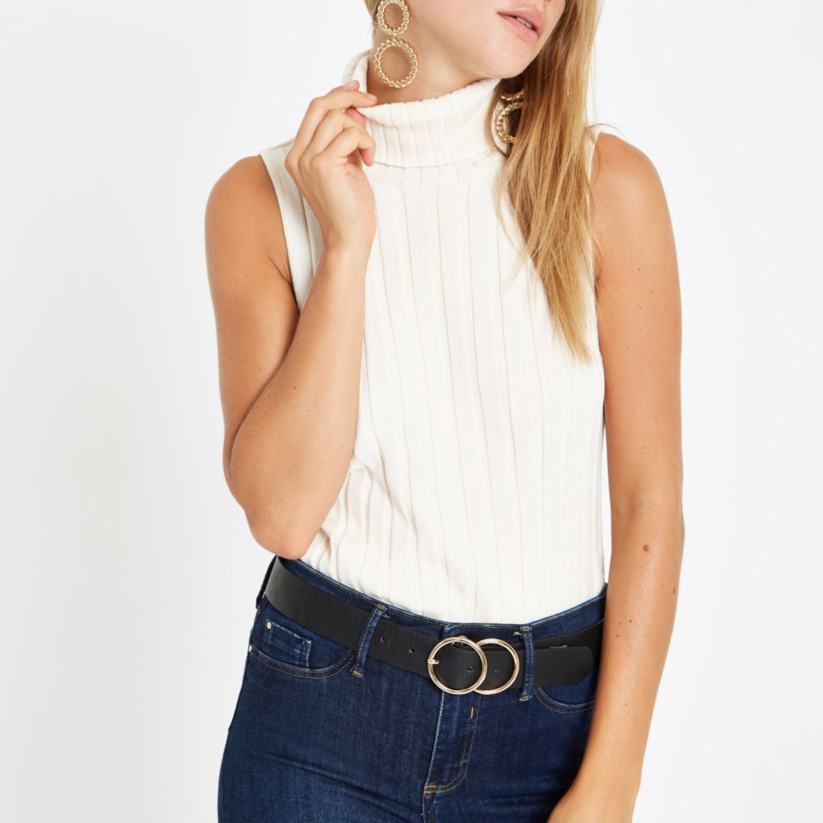 Cream knit ribbed roll neck sleeveless top