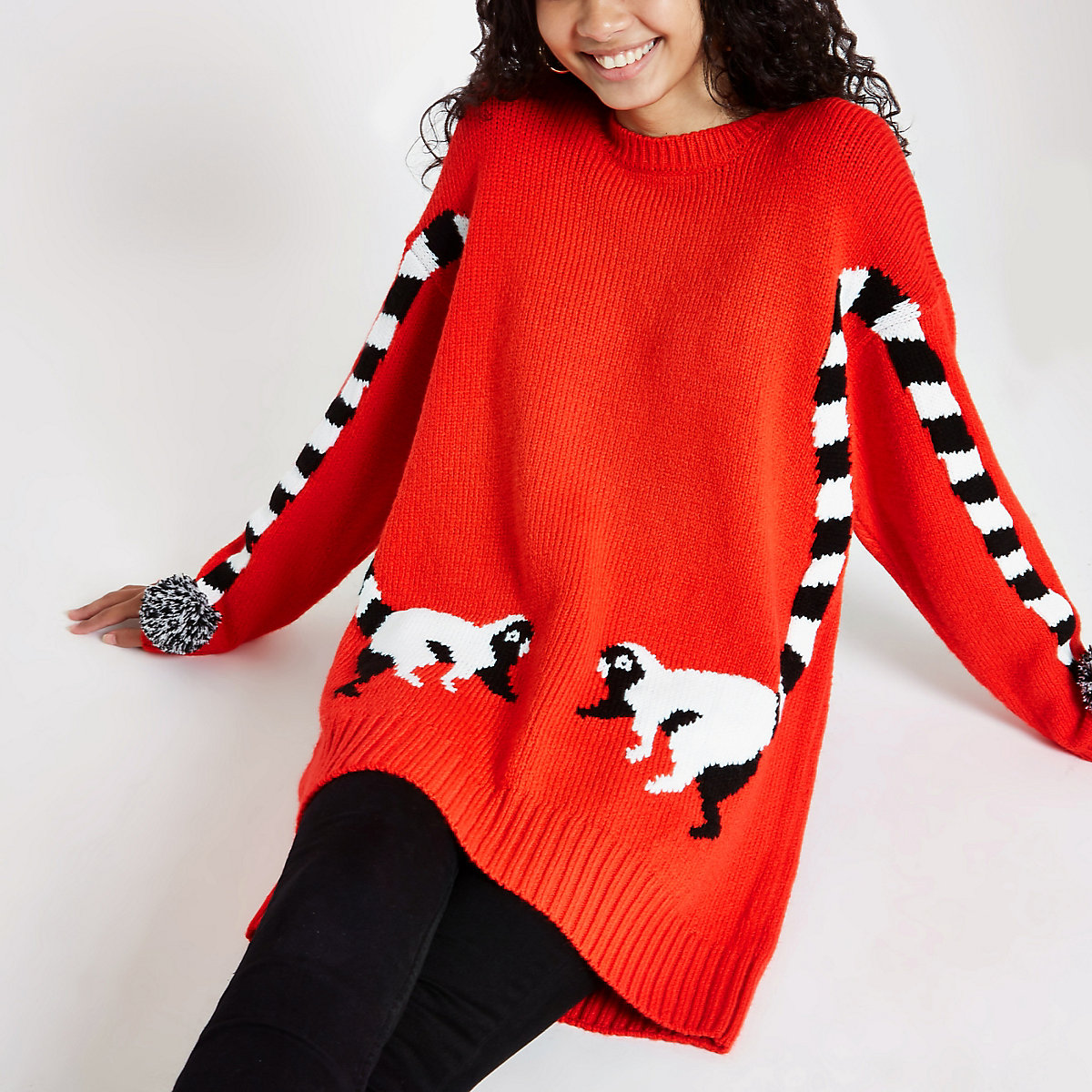 Red lemur print pom sleeve oversized jumper