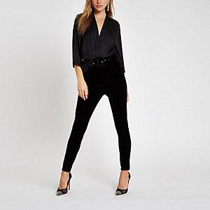 Black kimono sleeve bodysuit