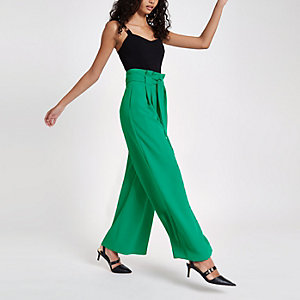 Light green paperbag waist wide leg pants