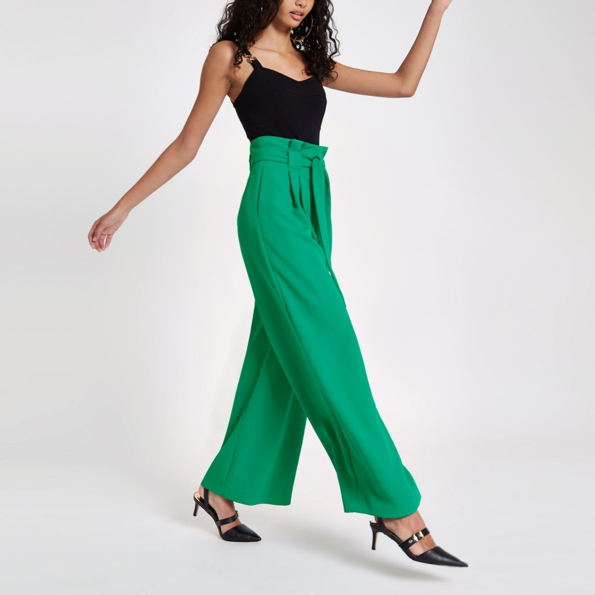 Light Green Paperbag Waist Wide Leg Pants by River Island