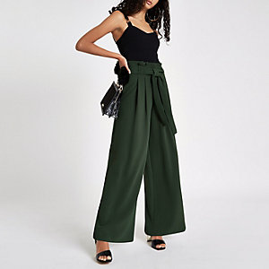 Khaki tie waist wide leg trousers