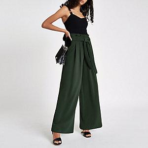 Pantalon large kaki avec cordon à la taille