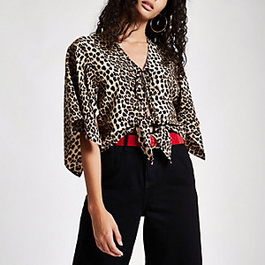 Brown leopard print tie front cape top