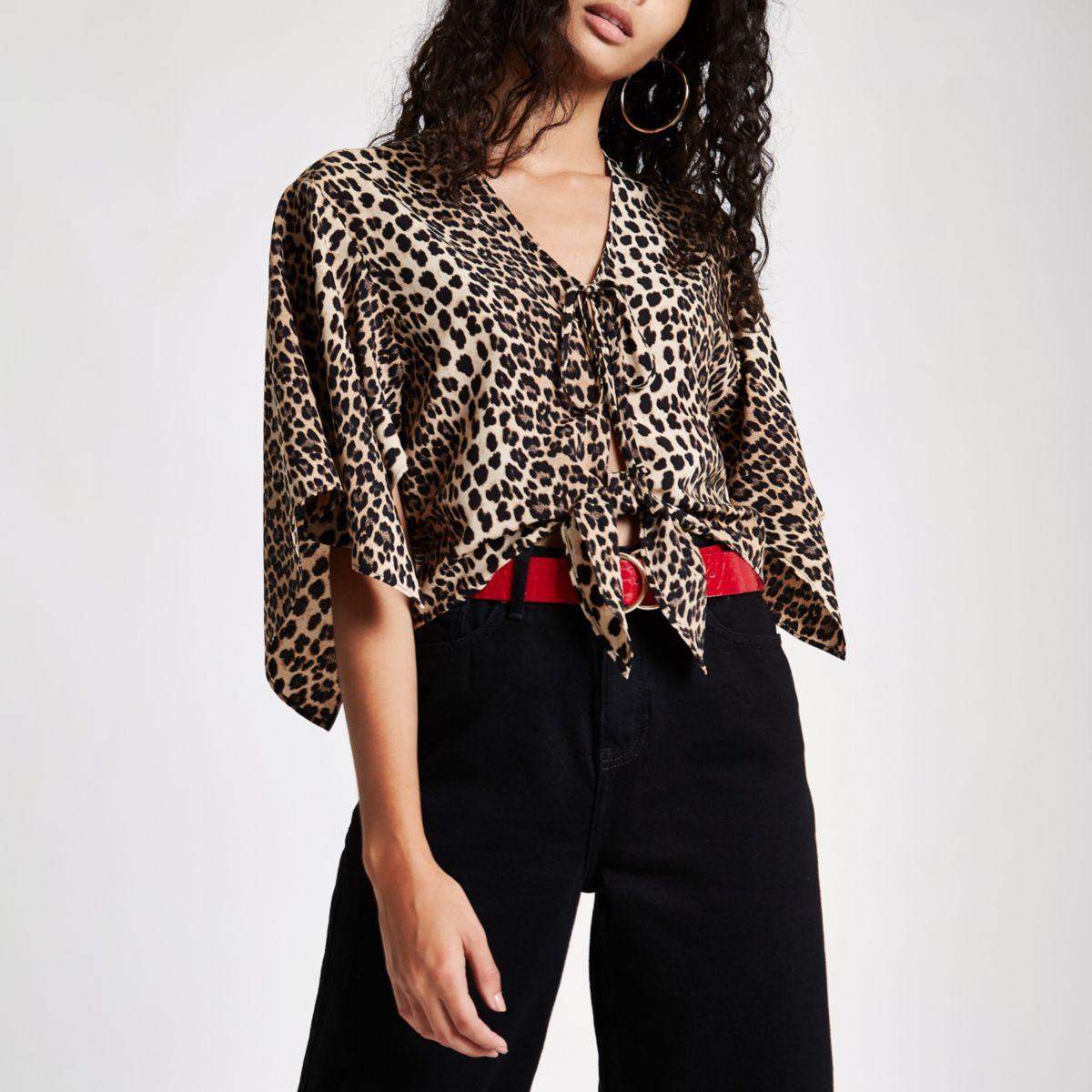 Brown leopard print tie front cape top
