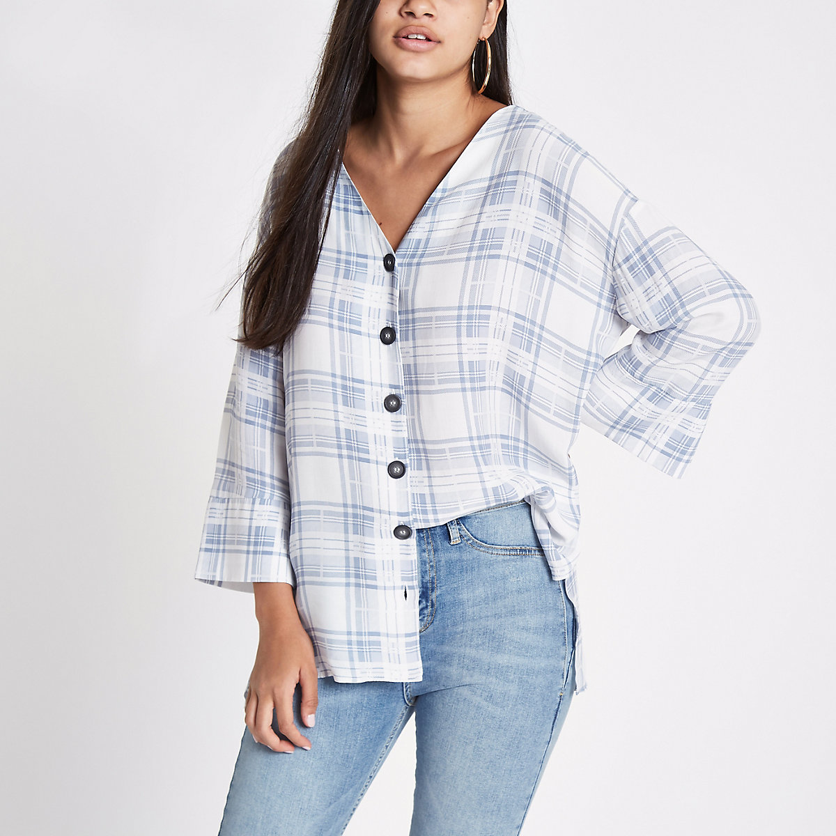 55422d63b1f616 Blue check button front bar back blouse - Shirts - Tops - women