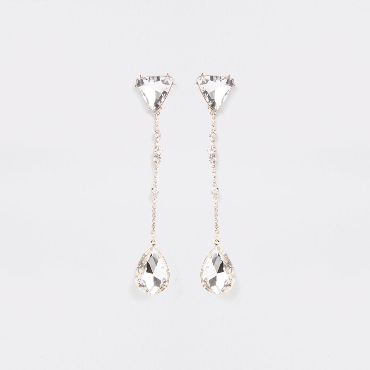 Gold tone triangle jewel drop earrings