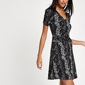 Black floral frill ruched tea dress