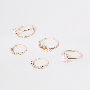 Gold tone pearl ring pack