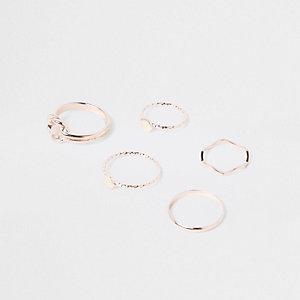 Lot de bagues à motifs cercles et nœuds ton or rose