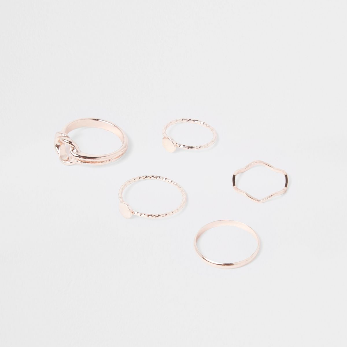 Rose gold tone knot and circle top ring pack