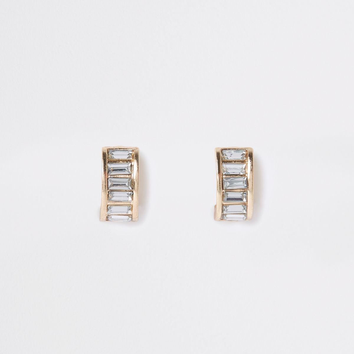 Gold tone jewel clip on earrings