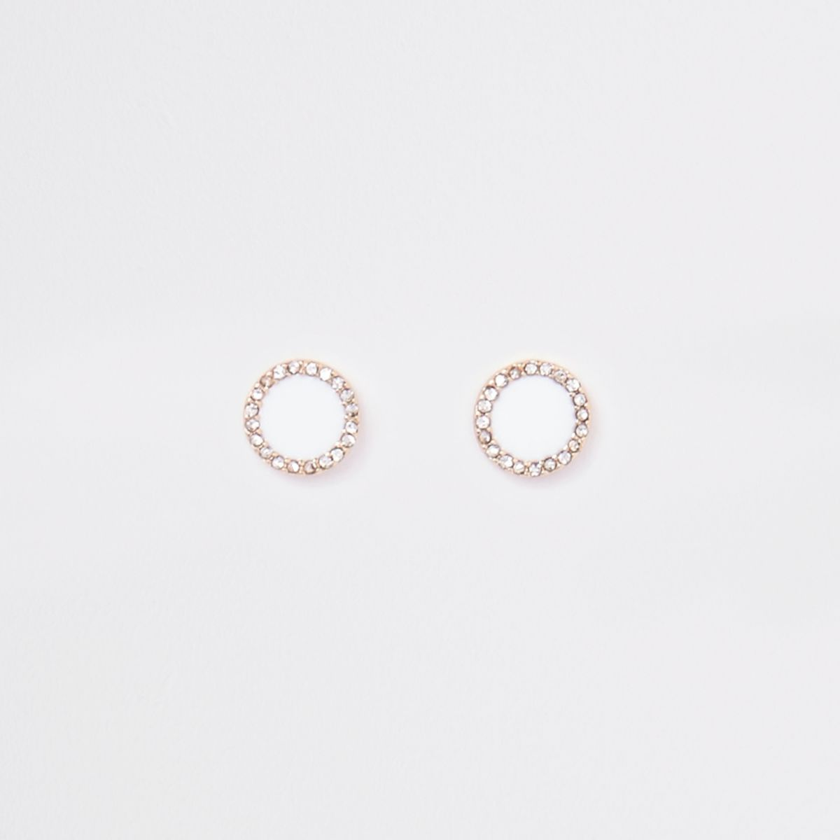 White gold tone enamel circle stud earrings