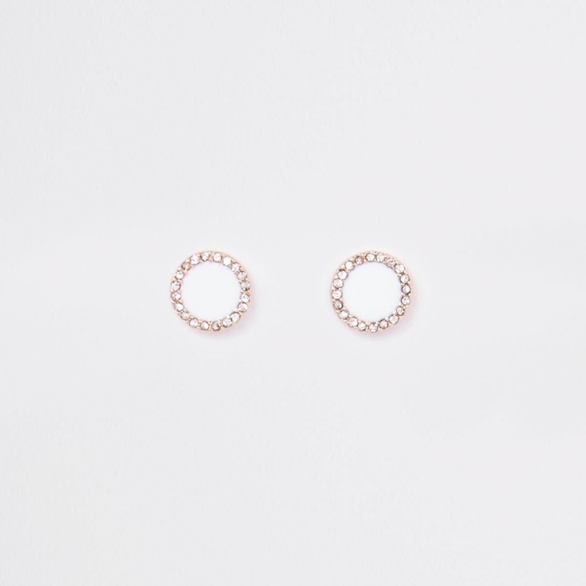 White gold tone enamel circle stud earrings