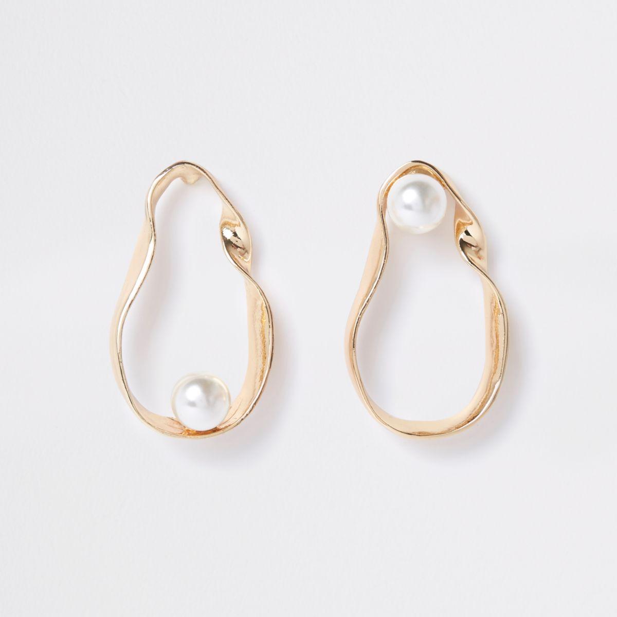 Gold tone twist pearl drop earrings