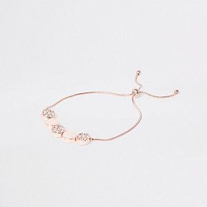 Rose gold tone paved discs lariat bracelet