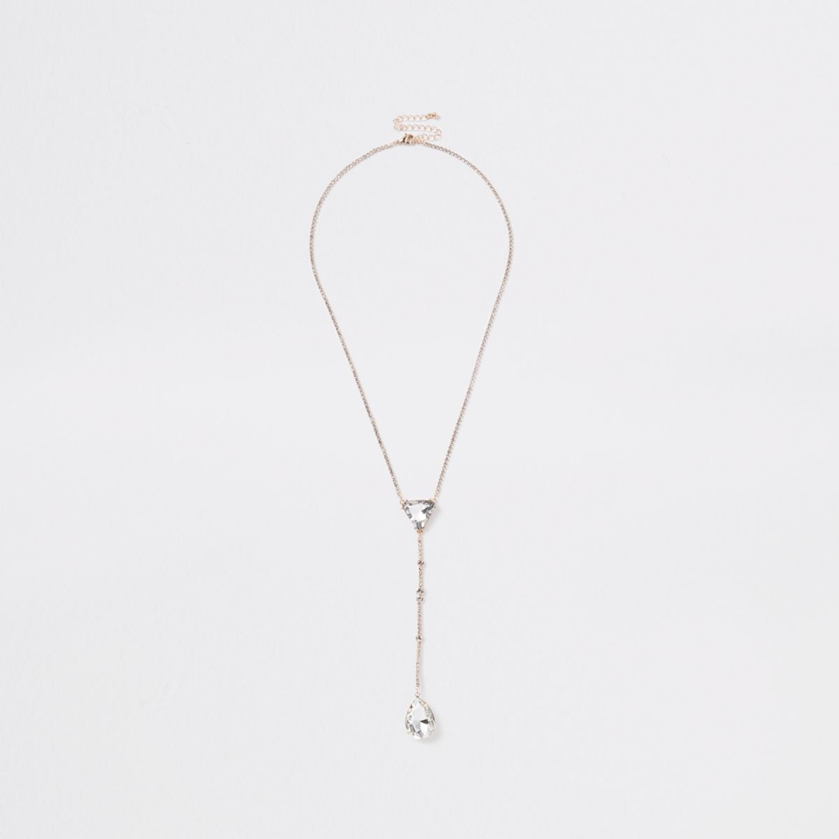 Gold tone triangle drop necklace