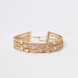 Gold tone chunky layered snake chain choker