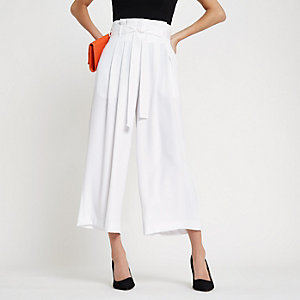 White paperbag belted culottes