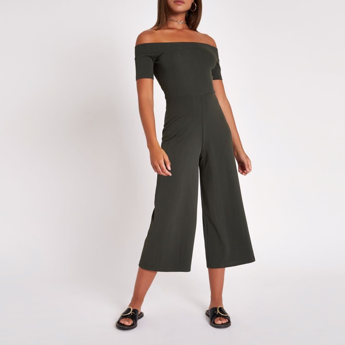 Khaki rib bardot wide leg jumpsuit