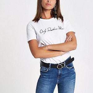 T-shirt ajusté « Positive vibes » blanc