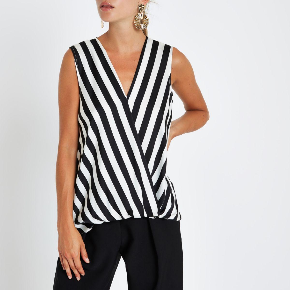 Black stripe tuck front sleeveless blouse