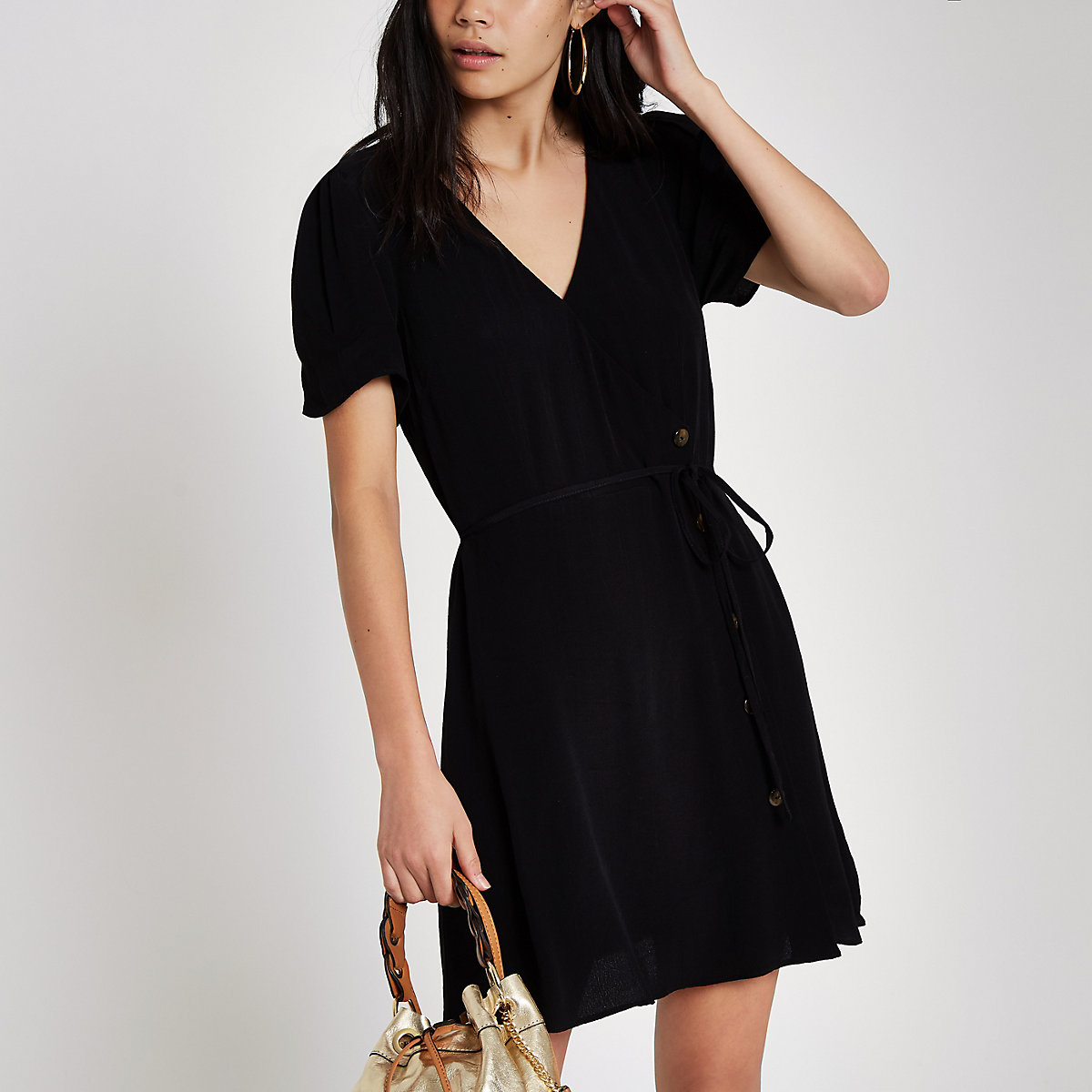 Black button through mini dress