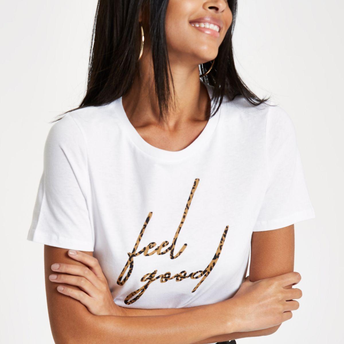 White 'feel good' leopard print T-shirt