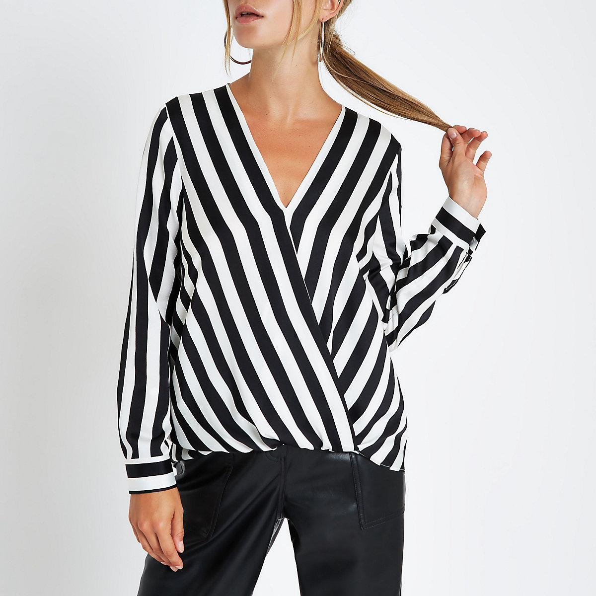 Black stripe tuck front long sleeve blouse