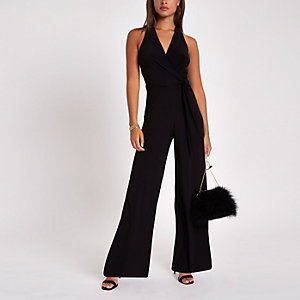 Black halter neck wide leg jumpsuit