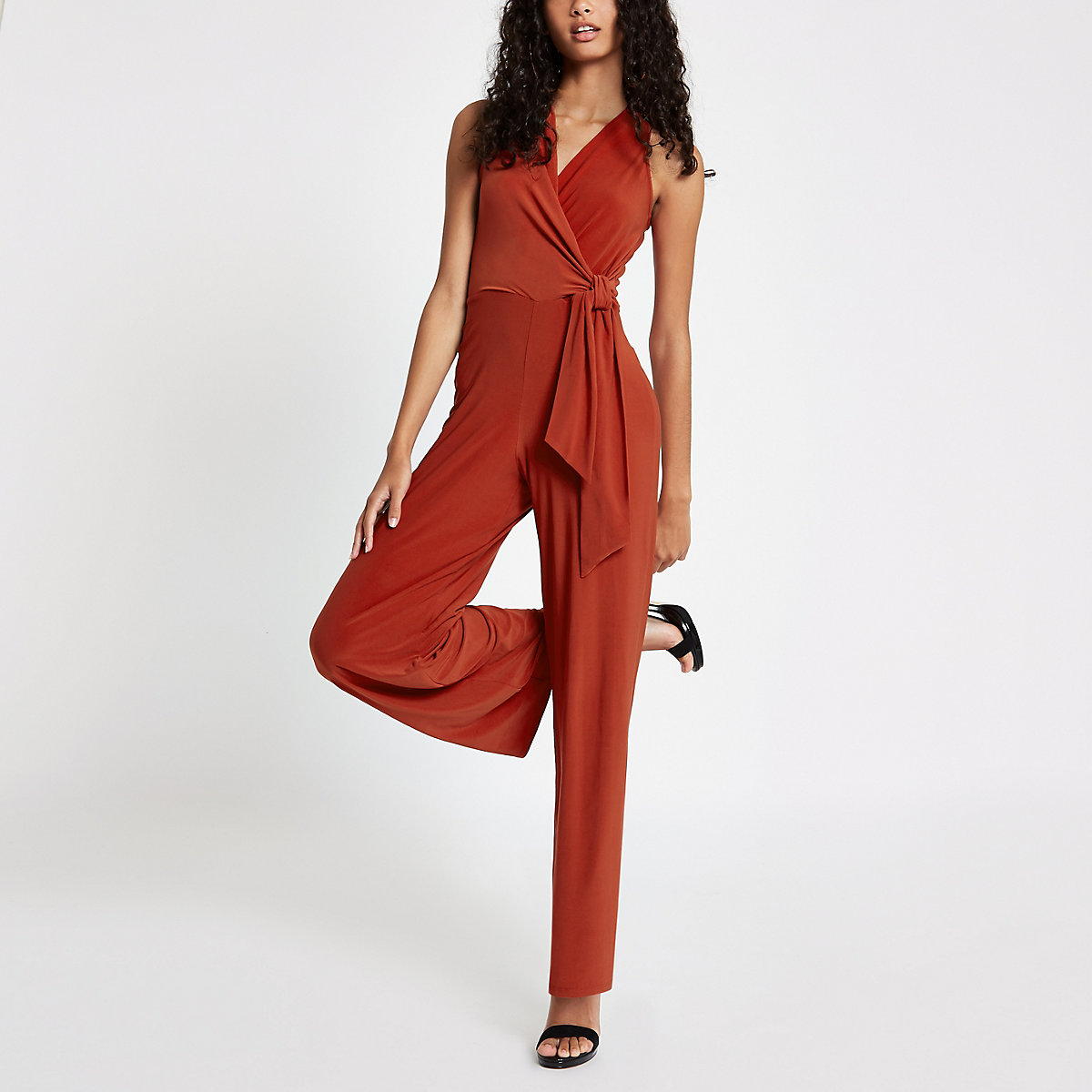 Dark red halter neck tie front jumpsuit