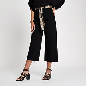 Black Alexa belted cropped wide leg jeans