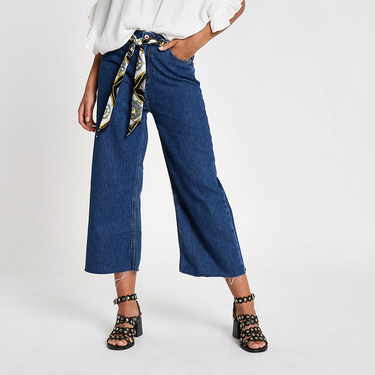 Blue Alexa belted cropped wide leg jeans