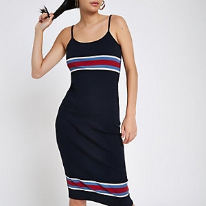 Navy stripe rib Bodycon midi dress