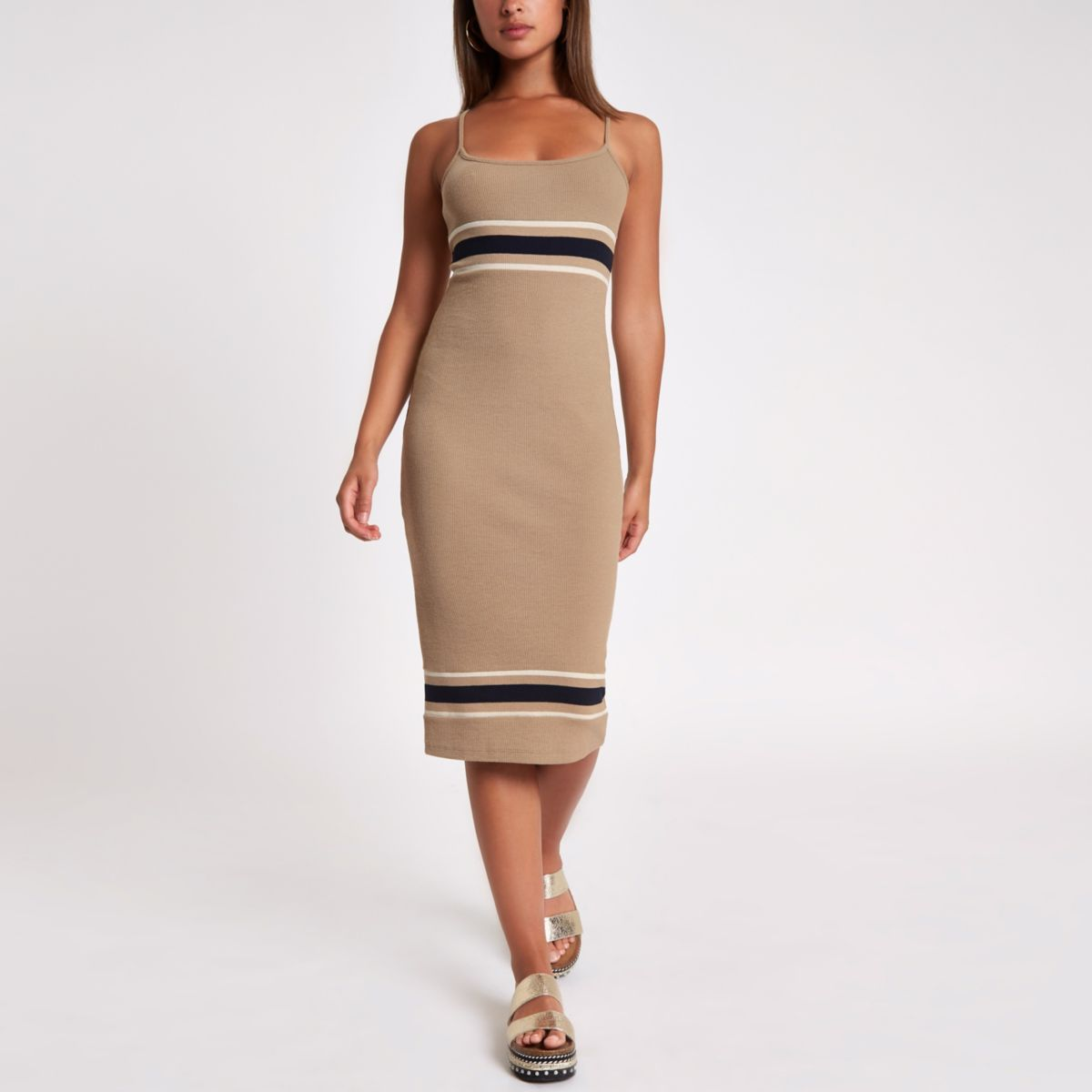 Beige stripe rib bodycon midi dress