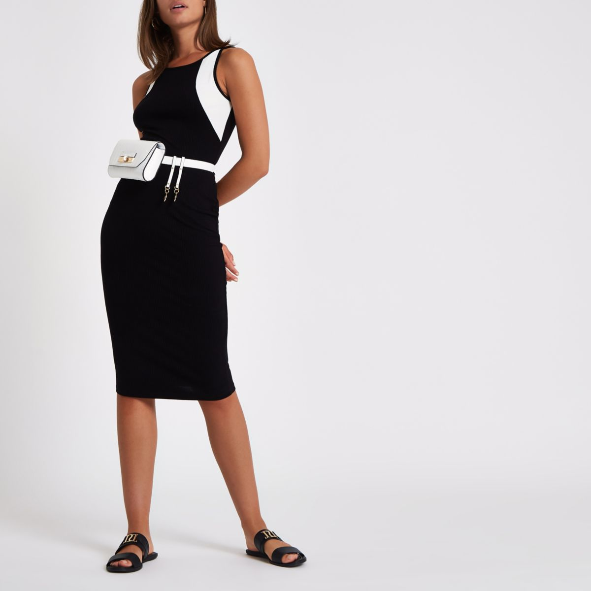Black block print rib bodycon dress